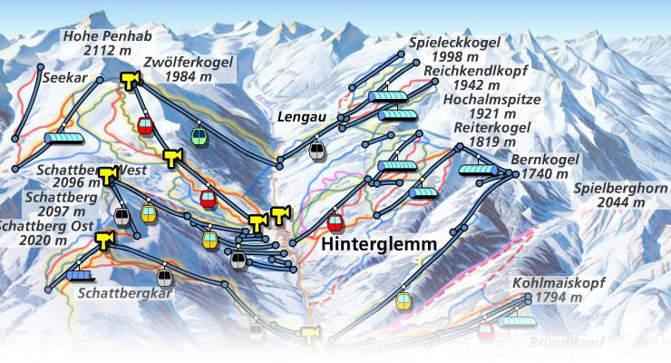 Skipistenplan Saalbach Hinterglemm